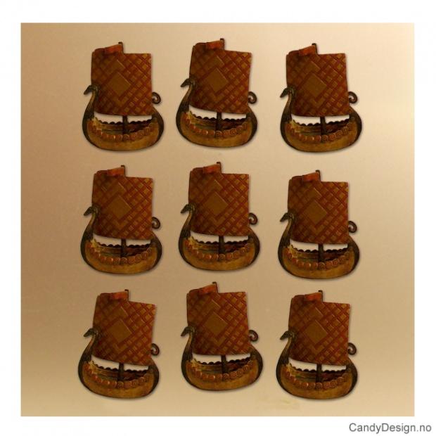 Små viking magneter - vikingskip med rutete seil