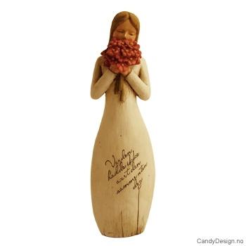Pike med tekst i tre med blomster - Verden hadde ikke vært den samme uten deg - hvit wooden