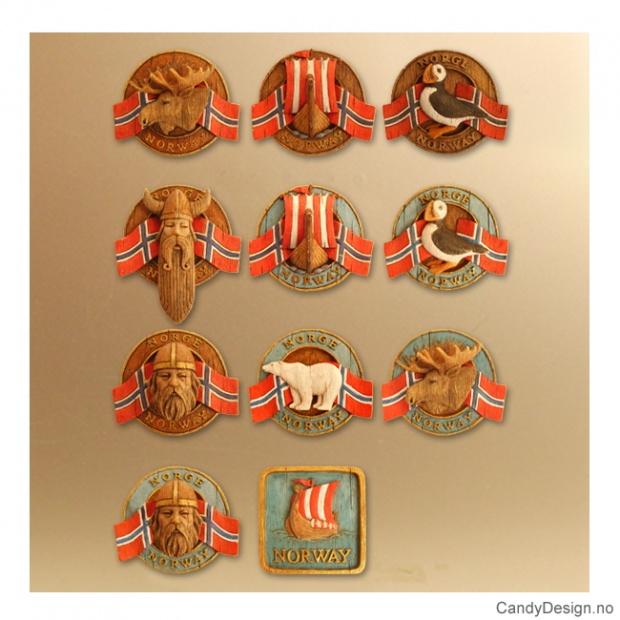 Runde magneter med norske flagg