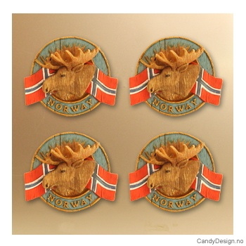 Elghode - rund magnet med Norske flagg