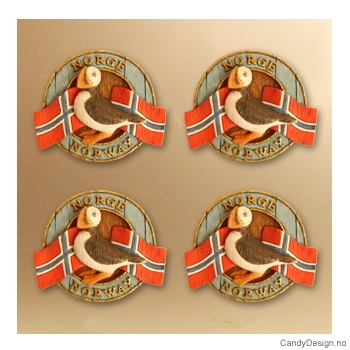 Lundefugl - rund magnet med Norske flagg