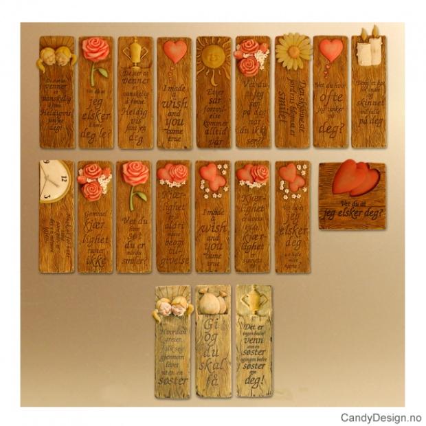 Assorterte avlange kjærlighetsord magneter i trefarger