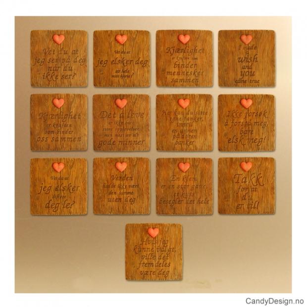 Magnetplater med kjærlighetstekst og hjerte assortert