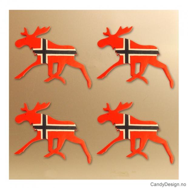 Løpende flat elg med magnet i Norske farger