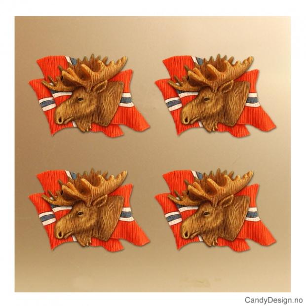 Elg med flagg - magnet