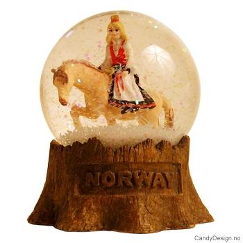 Snowglobe Jente på hest