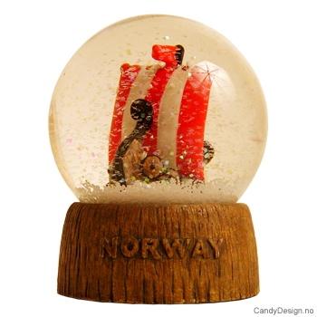 Snowglobe Vikingskip m/trestamme