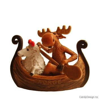 Elg og sau i vikingskip