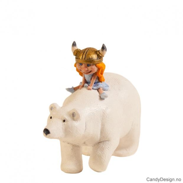 Viking jente sittende på en isbjørn