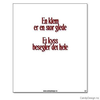 Kjøleskapsmagnet i gummi med visdomsord - En klem er en stor glede et kyss besegler det hele