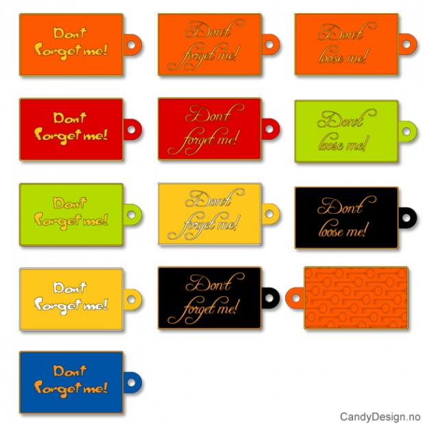 Assorterte Tags for bags i myk PVC