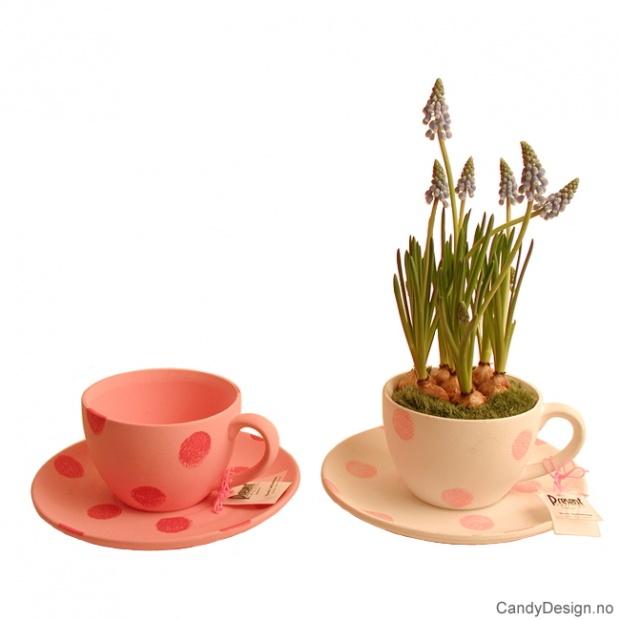 Kopp og skål for blomster