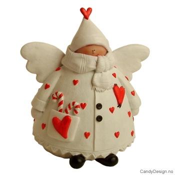 Hvit engel med hjerter - XXL