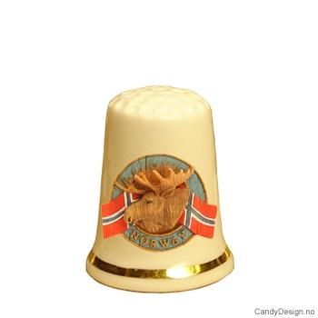 Fingerbøl med elg og Norske flagg motiv