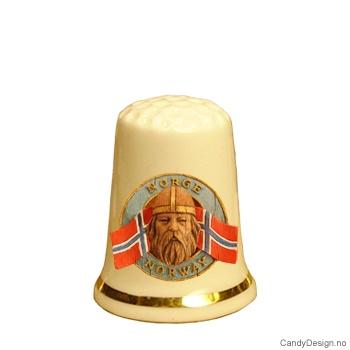 Fingerbøl med vikinghode og Norske flagg motiv