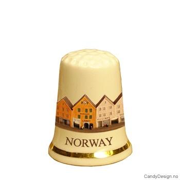 Fingerbøl med Bryggen i Bergen motiv