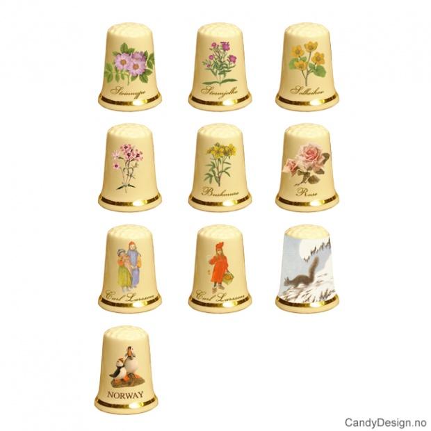 Fingerbøl med blomster og Carl Larsson motiv assortert
