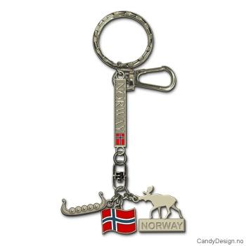 Nøkkelring  Vikingskip, elg, flagg og Norge