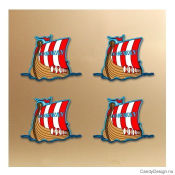 Magnet i silikon med Norway - Vikingskip (forfra)