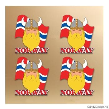 Magnet i silikon med Norway - Viking med flagg