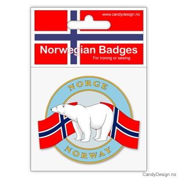 Isbjørn - rundt suvenir jakkemerke