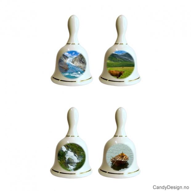 Små porselen bjeller med Norske natur motiver - Assortert