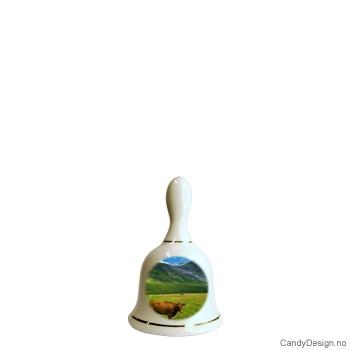 Liten porselen bjelle med Norsk natur motiv