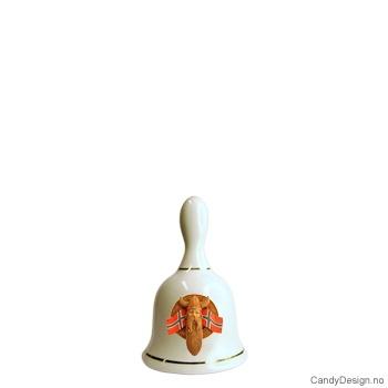 Liten suvenir porselen bjelle med motiv  Viking hode med Norsk flagg