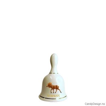 Liten porselen suvenir bjelle med Norsk motiv  Elg