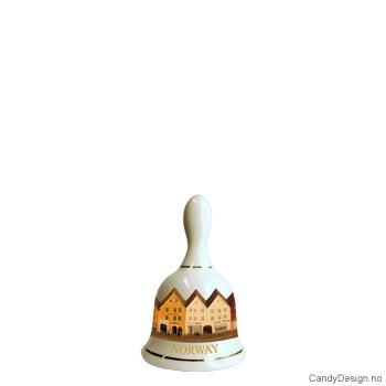 Liten porselen suvenir bjelle med Norsk motiv  Bryggen i Bergen
