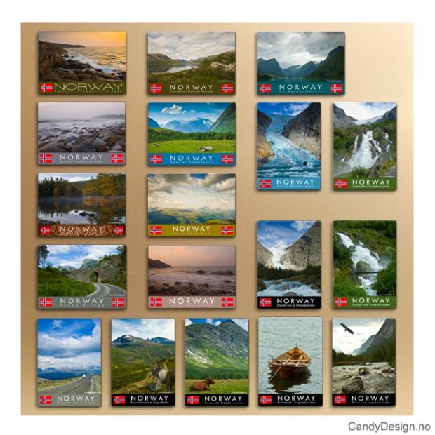 Metallmagneter med Norske naturbilder - Assortert