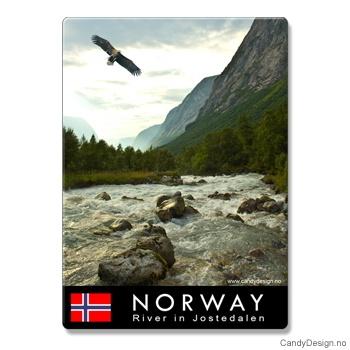 Metallmagneter med Norske naturbilder - Ørn over elv