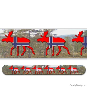 Suvenir neglefil - Elger med norsk flagg