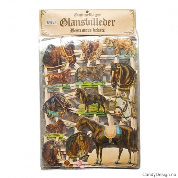 Glansbilder - Hester med glitter