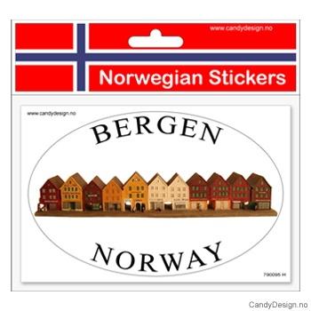 Ovalt klistremerke for bil med Bryggen i Bergen