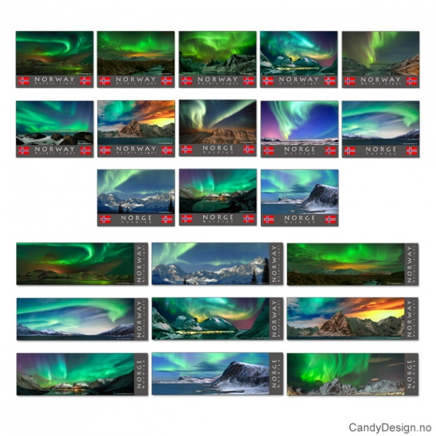 Metallmagneter med Norsk landskap med nordlys (aurora borealis) assortert, 6 av hver