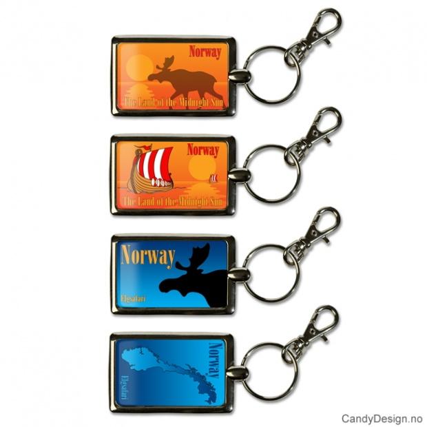 Assorterte nøkkelringer i metall i farger