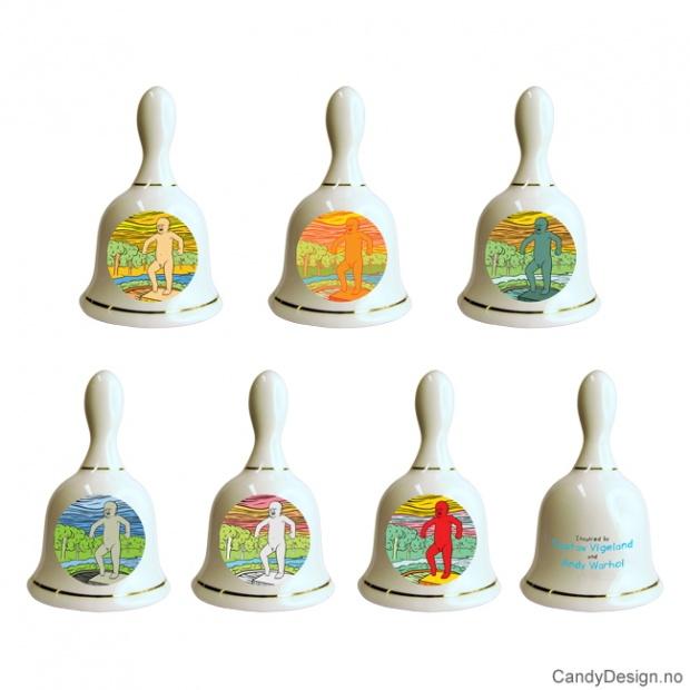 Sinnataggen porselensbjeller med motiv inspirert av Gustav Vigeland og Andy Warhol
