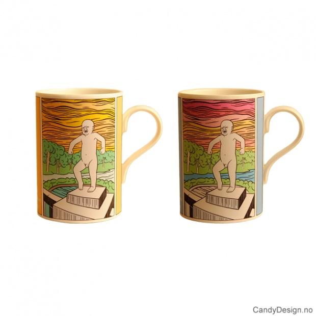 Sinnataggen kopper med motiv inspirert av Gustav Vigeland og Andy Warhol
