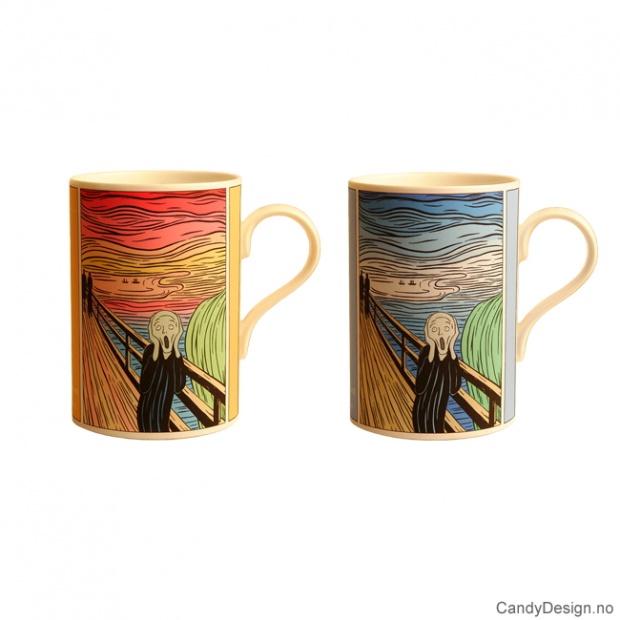 Skrik kopper med motiv inspirert av Edvard Munch og Andy Warhol