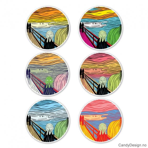 Skrik porselensplater med magnet motiv inspirert av Edvard Munch og Andy Warhol