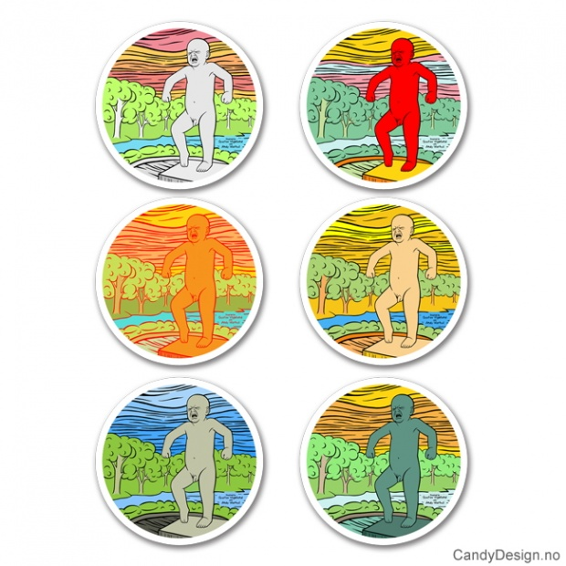 Sinnataggen porselensplater med magnet motiv inspirert av Gustav Vigeland og Andy Warhol