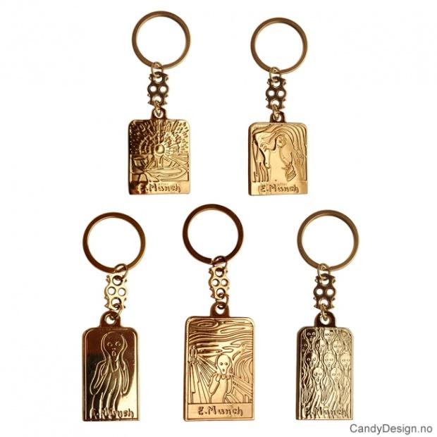 Edvard Munch Skrik metall nøkkelringer assortert
