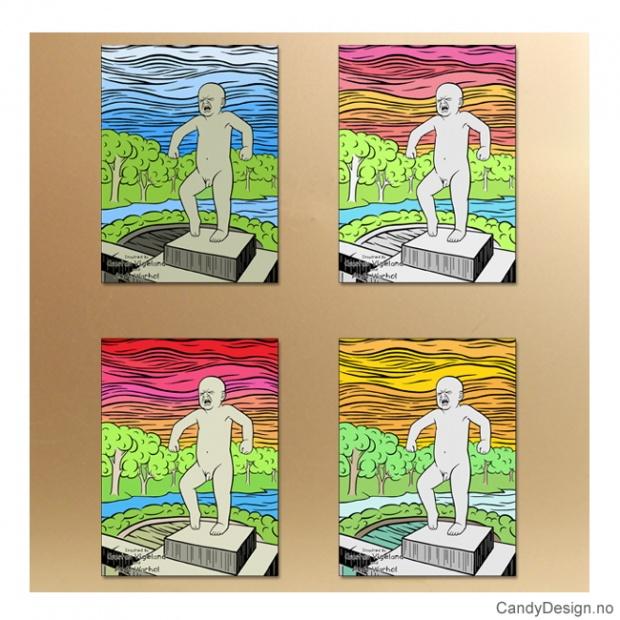 Sinnataggen metallmagneter inspirert av Gustav Vigeland og Andy Warhol