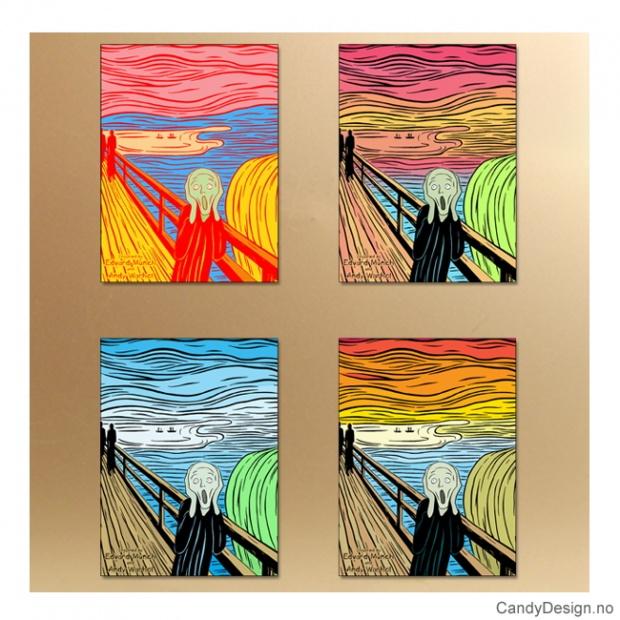 Skrik metallmagneter inspirert av Edvard Munch og Andy Warhol