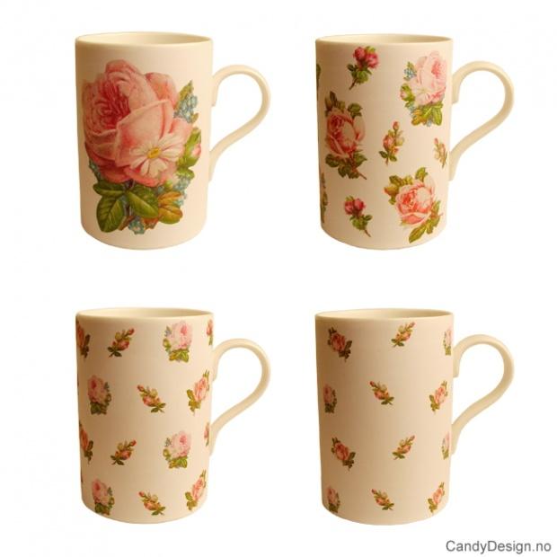 Kopp med roser assortert