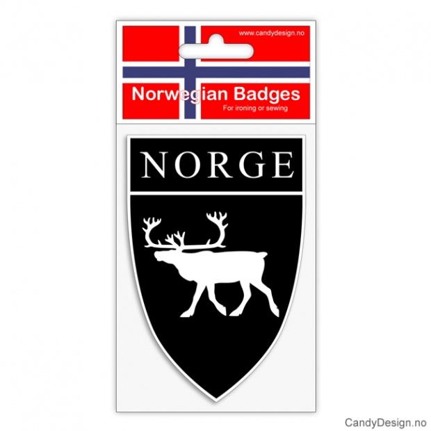 Broderte suvenir jakkemerke med reinsdyr og Norge