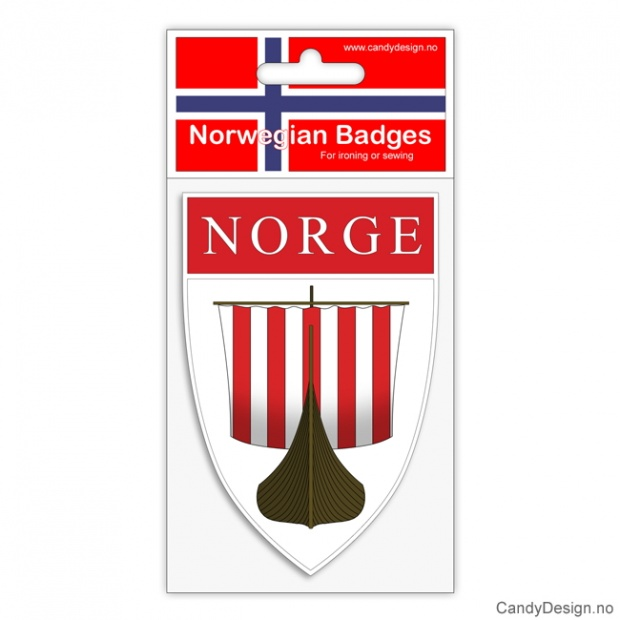Broderte suvenir jakkemerke med vikingskip og Norge