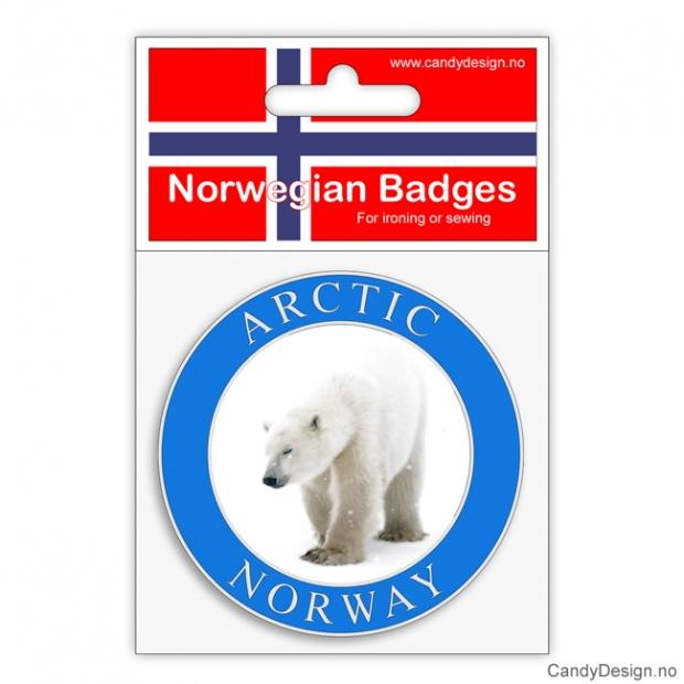 Broderte runde suvenir jakkemerke med Arctic Norway og isbjørn
