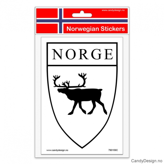 Suvenir klistremerker med reinsdyr og Norge